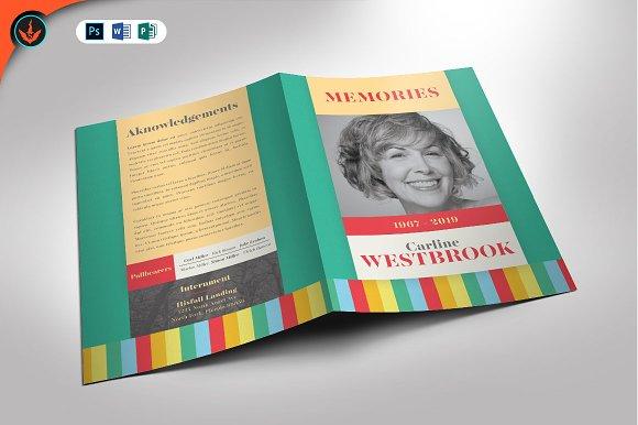 colorful funeral program template brochure templates creative market