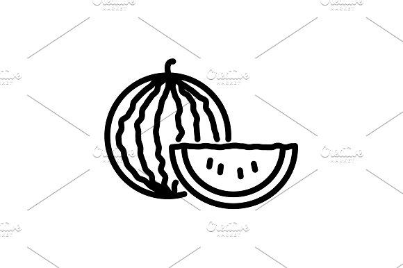 Web Line Icon Watermelon Black