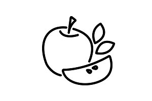 Web line icon. Apple black on white