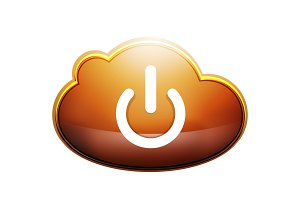 Start power cloud button, ui icon design, on off symbol