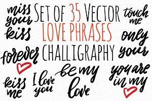 Set of 35 vector love phrases