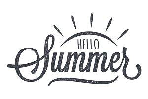 Hello Summer Vintage Lettering