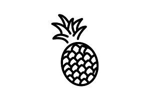 Web line icon. Pineapple black