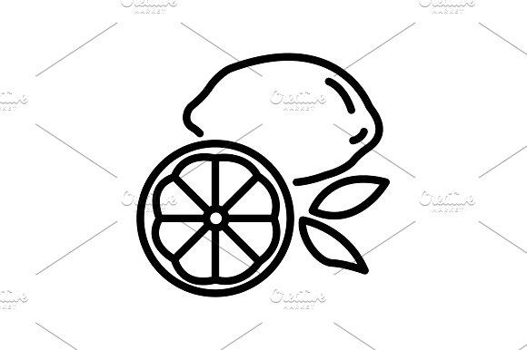 Web line icon. Lemon black on white