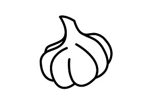 Web line icon. Garlic black on white