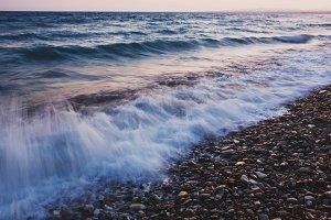 Sea waves. Long exposure at sunset.