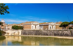 Rome city over the Tiber river