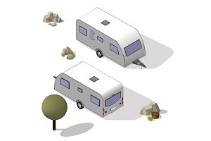 Isometric tourist trailer
