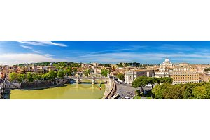 Tiber river and St. Peter Basilica in Rome