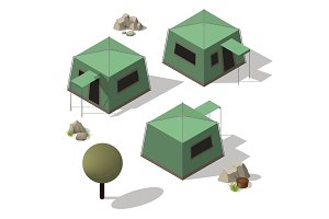 Isometric set of tourist tents.