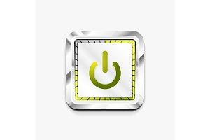 Power button technology logo, digital art techno concept, on off icon
