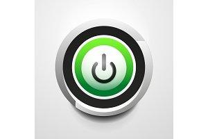 Power button technology logo, digital art techno concept, on off icon