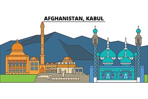 Afghanistan, Kabul. City skyline, architecture, buildings, streets, silhouette, landscape, panorama, landmarks. Editable strokes. Flat design line vector illustration concept. Isolated icons