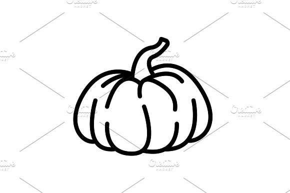 Web Line Icon Pumpkin Black