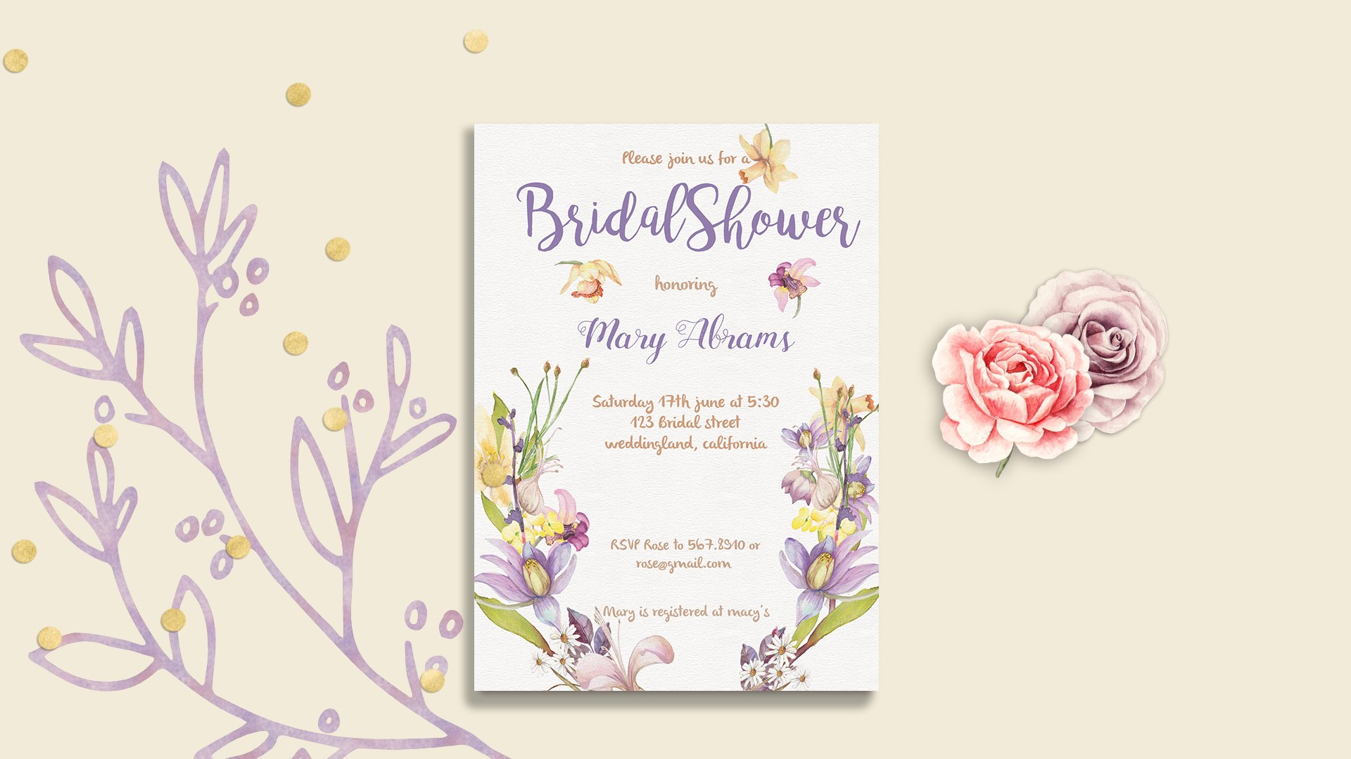 Floral Bridal Shower Card template | Creative Card Templates ...