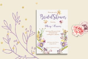 Floral Bridal Shower Card template