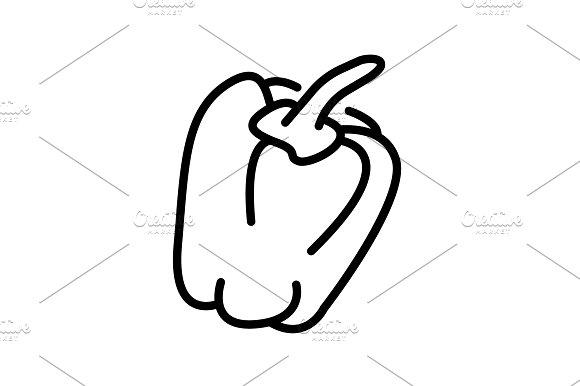 Web Line Icon Pepper Black On White