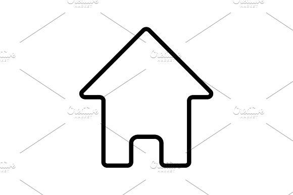 Web Line Icon Home Black On White