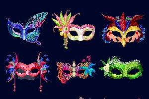 Colorful Ornate Carnival Masks Set