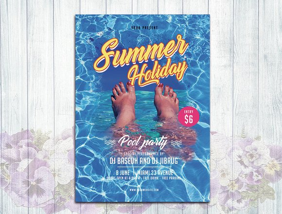 summer holiday pool party flyer flyer templates creative market