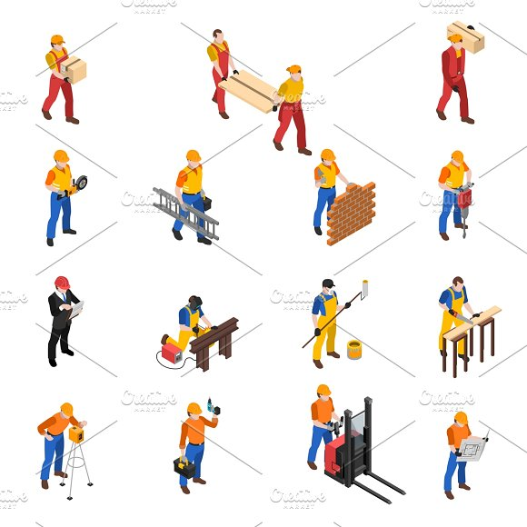 Builders Workers Isometric Icons