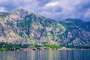 Mountains on the shore of the Boka Kotorska Bay, Boka-Kotorska, Montenegro, Europe