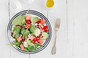 Fruit and vegetable salad in plate