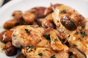 Grilled chicken breast with mushroom
