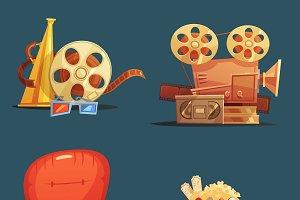 Cinema symbols 4 retro style icons