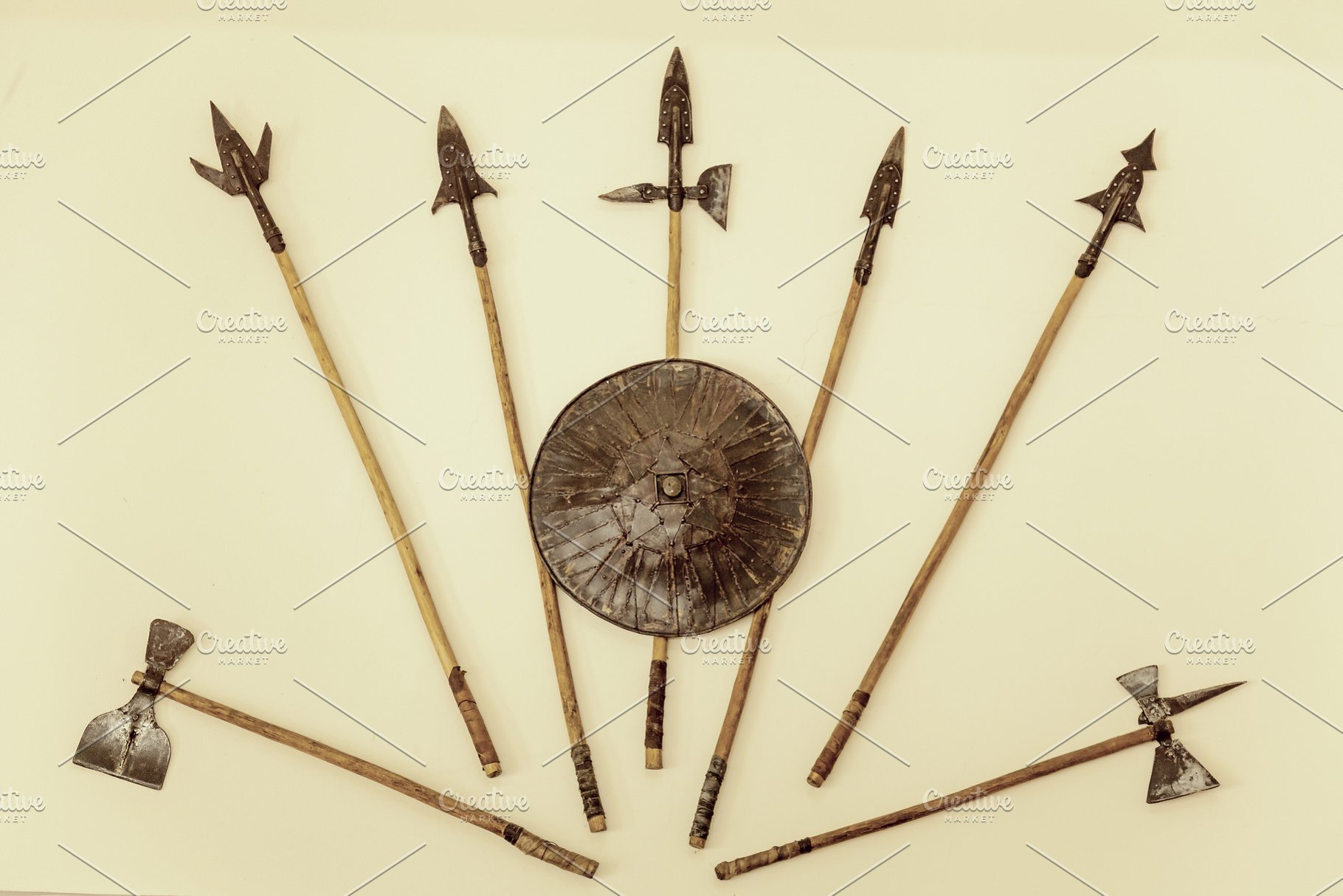 weapons of a warrior, spears, axes, shield