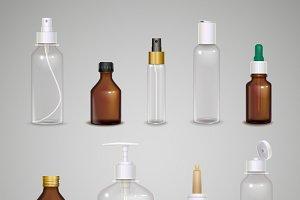 Images set of transparent bottles