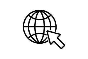 Web line icon. Globe, go to web