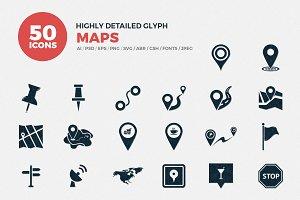 Glyph Icons Maps Set