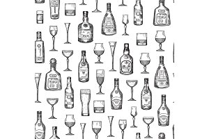 Vector pattern or background illustration alcohol drink bottles and glasses