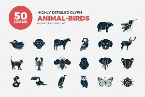 Glyph Icons Animals & Birds Set