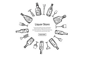 Vector hand drawn alcohol drink bottles and glasses i