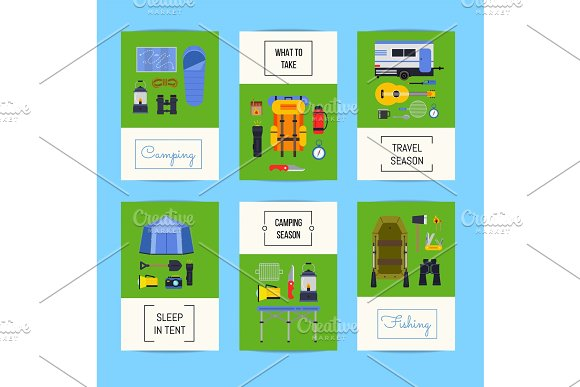 Vector Set Of Cards With Flat Style Camping Elements