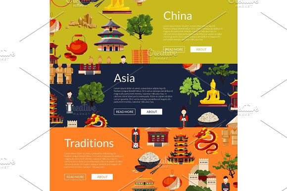 Vector Flat Style China Elements And Sights