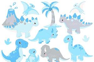 Cute Blue Dinosaur Clipart