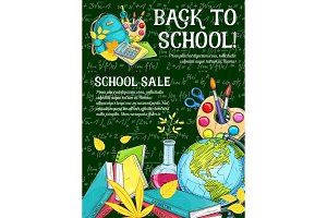 Sale banner with school supplies on chalkboard