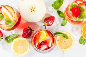 White, red and pink sangria