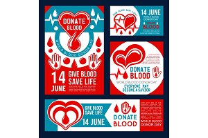 Donate Blood banner of donor medical center design