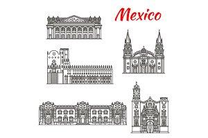 Mexican travel landmark of Guadalajara linear icon