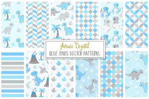 Blue Dinosaur Digital Paper - Vector