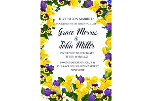 Wedding invitation banner with spring flower frame