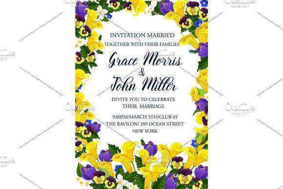 Wedding Invitation Banner With Spring Flower Frame
