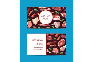 Vector cartoon meat elements business card