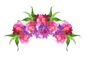 Watercolor floral composition frame