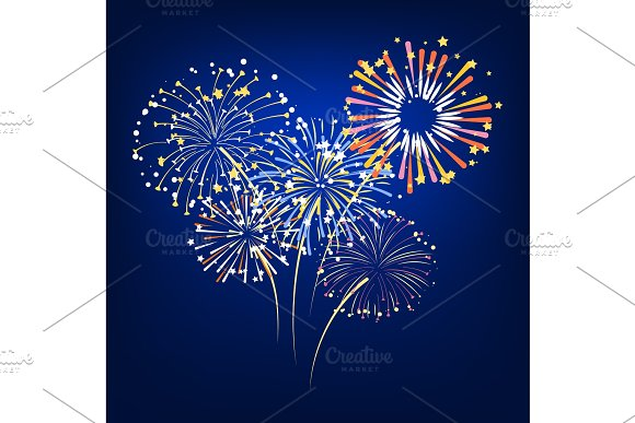 Vector Of Colorful Fireworks Exploding