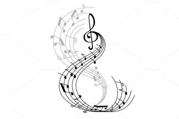 Music Note Poster With Musical Symbol On Staff